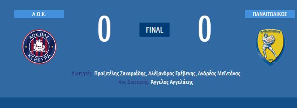 Τέλος παιχνιδιού: Α.Ο.Κ. Κέρκυρα (0-0) Παναιτωλικός