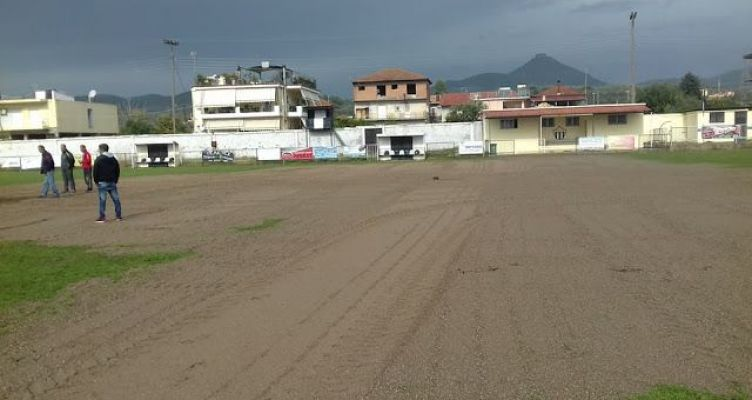 Καινούριο: Εργασίες αποκατάστασης του αγωνιστικού χώρου στο γήπεδο (Φωτό)