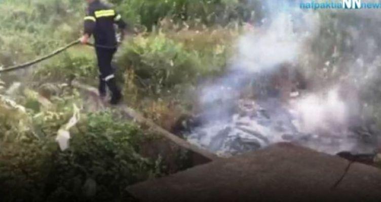 Ναυπακτία: Πυρκαγιά κοντά στη Χιλιαδού (Βίντεο)