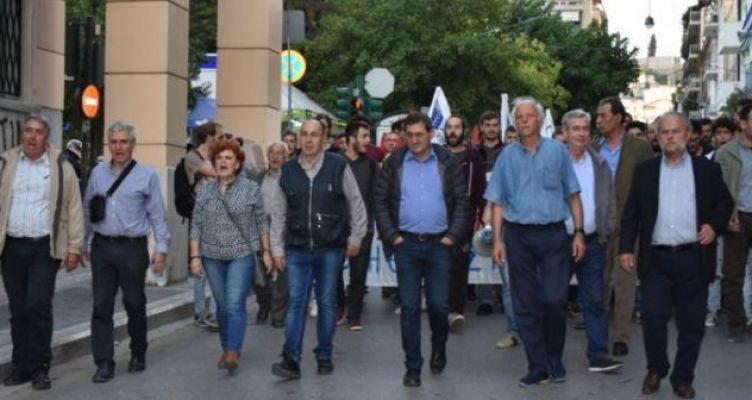 Συμμετοχή του Νίκου Μωραΐτη στο συλλαλητήριο κατά του ΝΑΤΟ στην Πάτρα