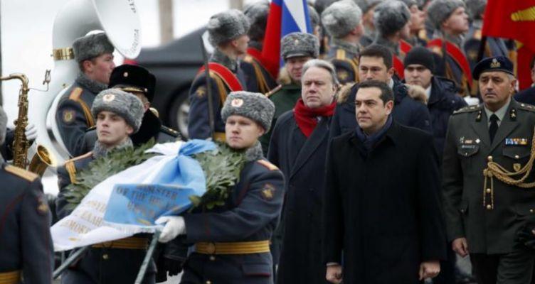 Ο Αλέξης Τσίπρας στην παγωμένη Μόσχα – Κατάθεση στεφάνου στους -3 βαθμούς (Φωτό)