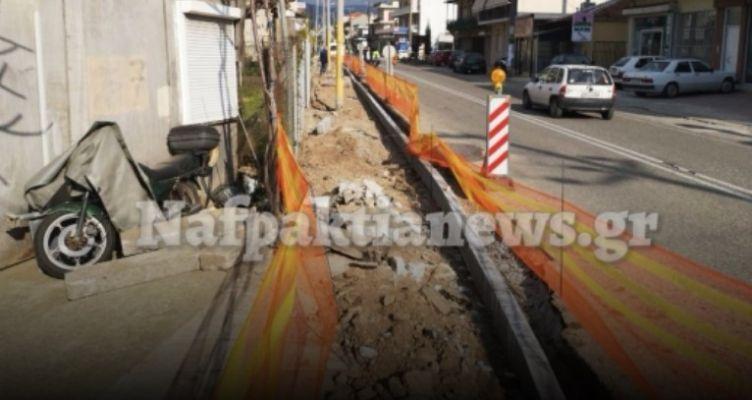 Ναύπακτος: Παίρνουν μορφή τα πεζοδρόμια – Εικόνες από την Γέφυρα του ΣΚΑ (Βίντεο)