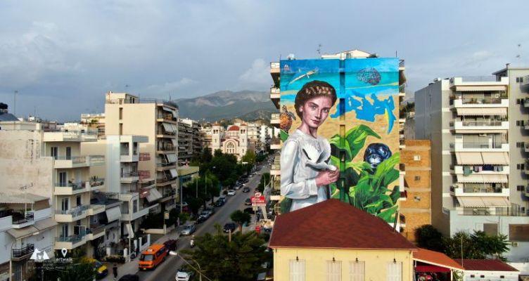 Η τοιχογραφία είναι αφιερωμένη στους ΙΙ Μεσογειακούς Παράκτιους Αγώνες Πάτρα 2019