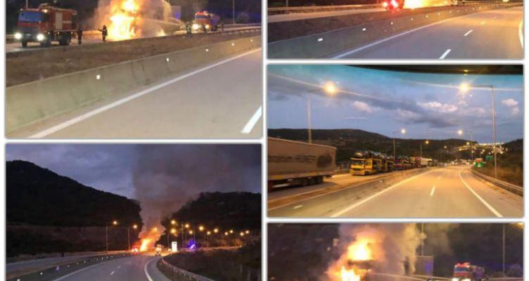Ηγουμενίτσα: Νταλίκα πήρε φωτιά στην Εγνατία Οδό!
