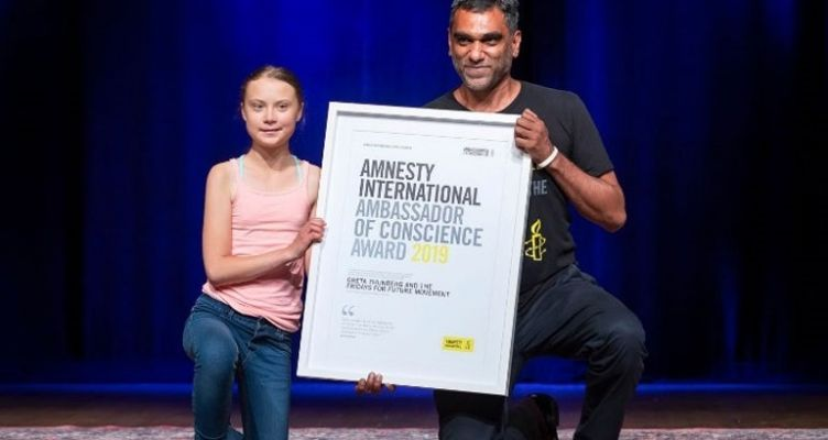 Βραβείο στη 16χρονη ακτιβίστρια Γκρέτα Τούνμπεργκ από τη Διεθνή Αμνηστία