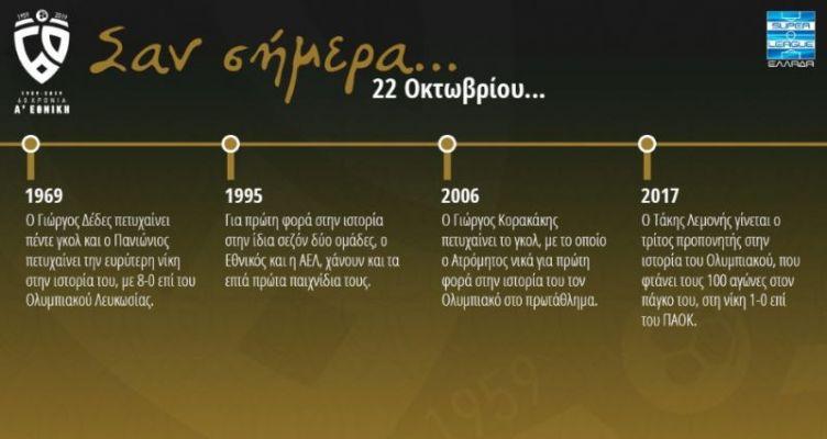 60 χρόνια Α' Εθνική: Σαν σήμερα (Τρίτη, 22 Οκτωβρίου)