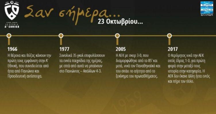 60 χρόνια Α' Εθνική: Σαν σήμερα (Τετάρτη, 23 Οκτωβρίου)