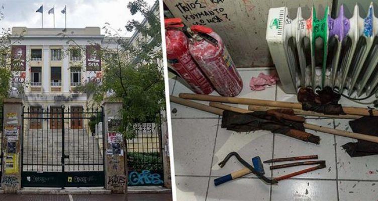 Βίντεο της ΕΛ.ΑΣ. από την έφοδο στην Α.Σ.Ο.Ε.Ε. – Βρήκαν κοντάρια, κουκούλες, κράνη και μολότοφ