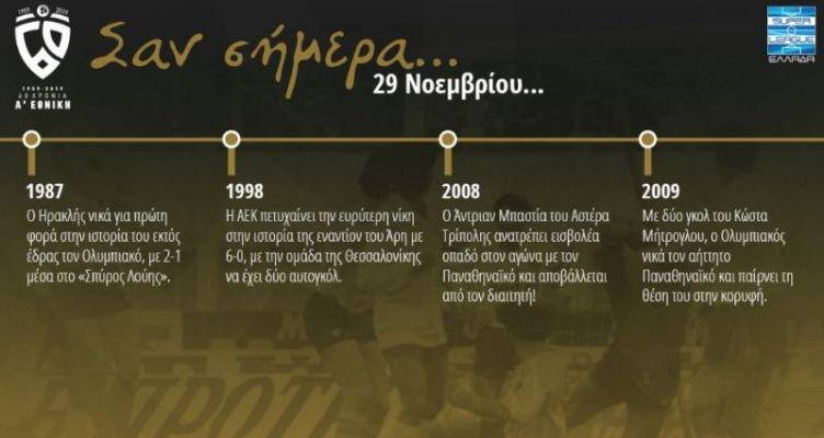 60 χρόνια Α' Εθνική: Σαν σήμερα (Παρασκευή, 29 Νοεμβρίου)