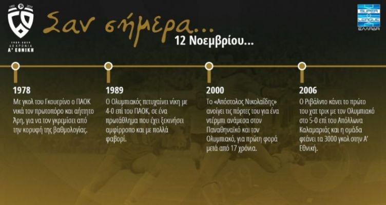 60 χρόνια Α' Εθνική: Σαν σήμερα (Τετάρτη, 12 Νοεμβρίου)