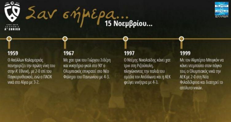60 χρόνια Α' Εθνική: Σαν σήμερα (Παρασκευή, 15 Νοεμβρίου)