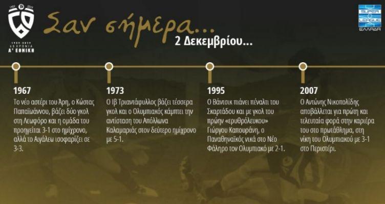 60 χρόνια Α' Εθνική: Σαν σήμερα (Δευτέρα, 2 Δεκεμβρίου)