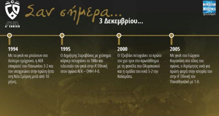 60 χρόνια Α' Εθνική: Σαν σήμερα (Τρίτη, 3 Δεκεμβρίου)