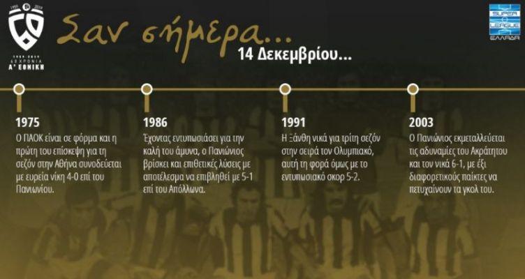 60 χρόνια Α' Εθνική: Σαν σήμερα (Σάββατο, 14 Δεκεμβρίου)