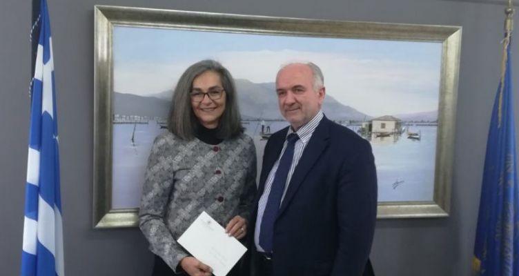 Συνάντηση του Δημάρχου Ι.Π. Μεσολογγίου Κώστα Λύρου με την Αντιπρόεδρο της Βουλής Σοφία Σακοράφα