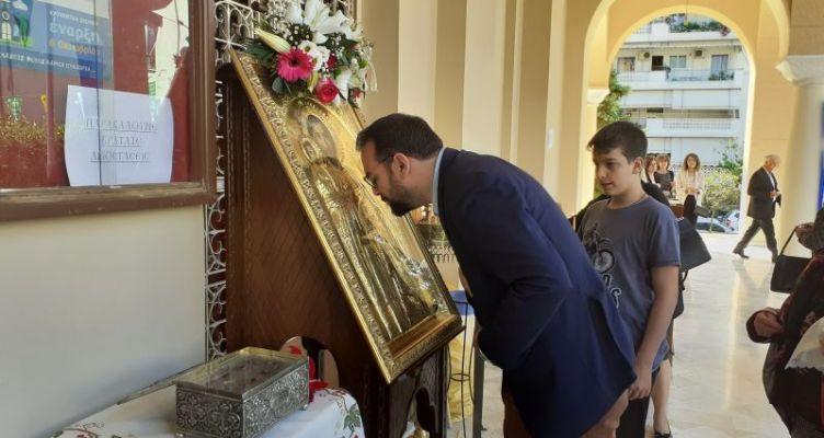 Ο Νεκτάριος Φαρμάκης προσκύνησε την εικόνα του Αγ. Χριστοφόρου
