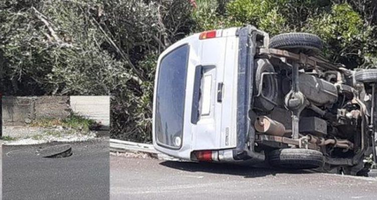 Πάτρα: Αυτοκίνητο χτύπησε σε ανοικτό φρεάτιο και ανατράπηκε
