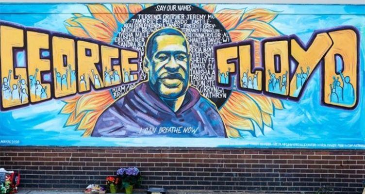 Τόπος προσκυνήματος, μια τοιχογραφία στο σημείο που σκότωσαν τον George Floyd