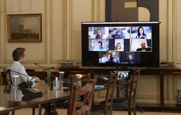 Τηλεδιάσκεψη του Κυριάκου Μητσοτάκη με Ευρωβουλευτές της Ν.Δ.