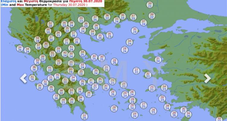 Καύσωνας: Τρεις ημέρες με 40άρια – Νέοι χάρτες με τις θερμοκρασίες