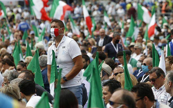 Συγκέντρωση της κεντροδεξιάς στη Ρώμη κατά της κυβέρνησης Κόντε