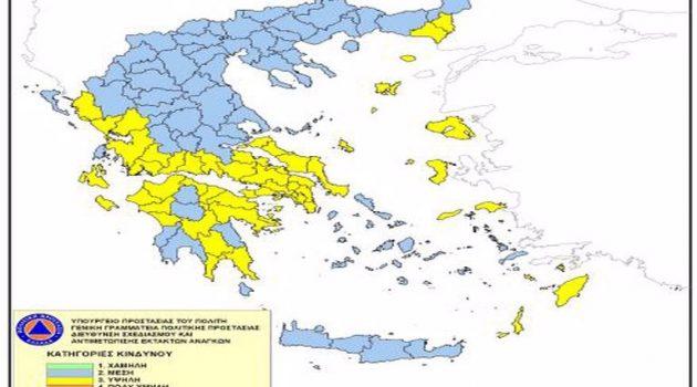 Υψηλός ο κίνδυνος πυρκαγιάς στη Δ. Ελλάδα και σήμερα