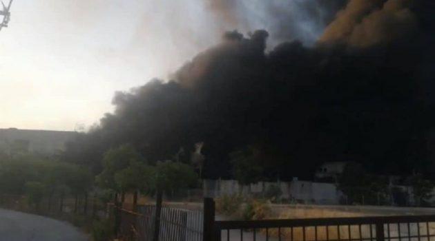 Πυρκαγιά σε εργοστάσιο με ανακυκλώσιμα πλαστικά στη Μεταμόρφωση Αττικής