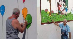 Πάτρα: Παππούς ζωγραφίζει εθελοντικά τα σχολεία της πόλης (Photos)