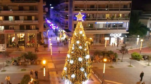 Άναμμα Χριστουγεννιάτικου δέντρου: Το βίντεο του Δήμου Αγρινίου