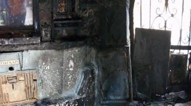 Φωτιά στα «Πατήματα της Παναγίας» κατέστρεψε το εκκλησάκι (Photos)