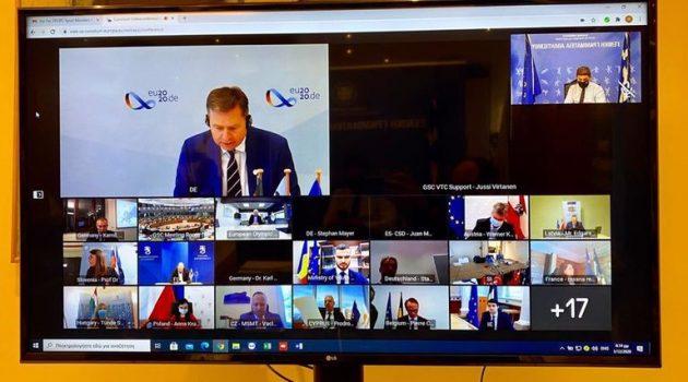 Ο Λ. Αυγενάκης στην άτυπη τηλεδιάσκεψη των 26 Υπ. Αθλητισμού της Ε.Ε.