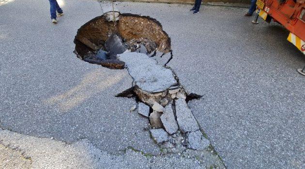 Αγρίνιο: Κλειστό το ρεύμα ανόδου στη Μαρίνου Αντύπα εξαιτίας καθίζησης (Photo)