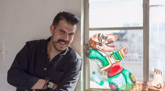 Ο Ηλ. Καρελλάς ζωγραφίζει την Επανάσταση με τον Καραγκιόζη πρωταγωνιστή