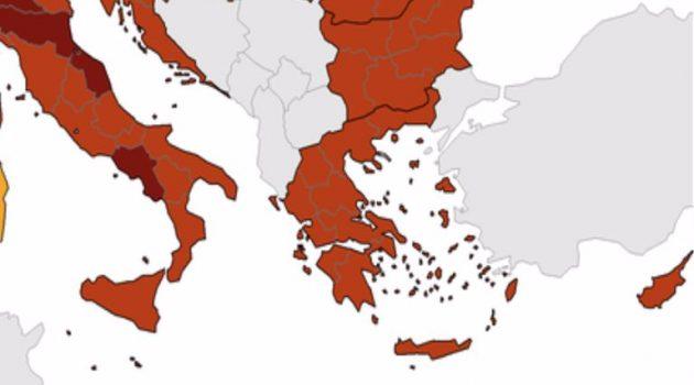 ECDC: «Κοκκίνισε» πλέον όλη η Ελλάδα – Ανέβηκε ο δείκτης θετικότητας (Χάρτες)
