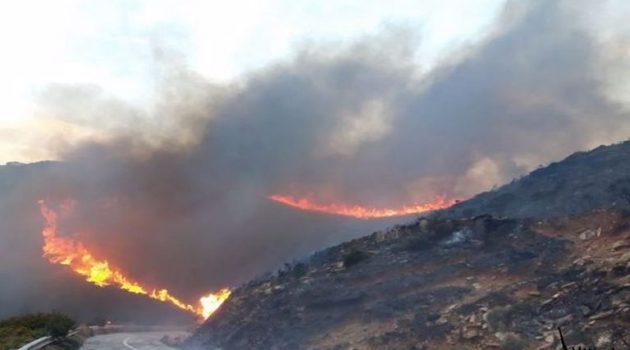 Άνδρος: Μαίνεται η μεγάλη πυρκαγιά – Εκκενώθηκαν δύο χωριά (Photos-Video)