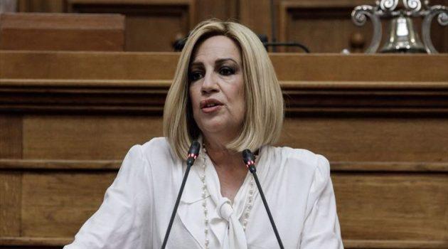 Φώφη Γεννηματά: «Ο Κ. Μητσοτάκης έχει στρίψει το τιμόνι της χώρας στο παρελθόν»