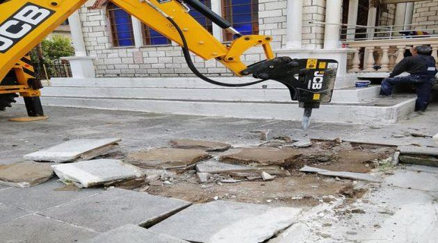 Εργασίες στον εξωτερικό χώρο του Ι.Ν. Αγίου Δημητρίου Παραβόλας (Photo)