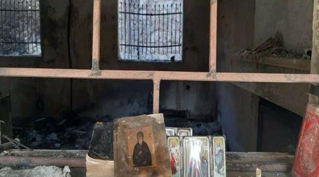 Φωτιά στο Σχίνο: Κάηκαν κειμήλια 500 ετών στη Μονή της Αγίας Παρασκευής στο Μάζι (Photos)