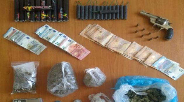 Αγρίνιο: Τρεις συλλήψεις για ναρκωτικά, περίστροφο και έντεκα δυναμίτες
