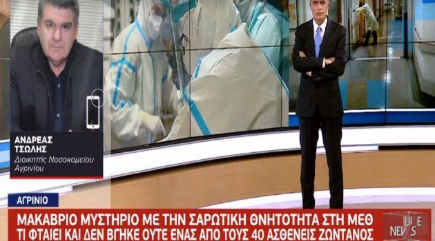 Διοικητής Νοσ. Αγρινίου: «Το Υπουργείο Υγείας και η 6η Υ.ΠΕ. γνώριζαν για τη Μ.Ε.Θ.»
