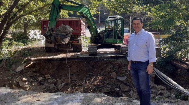 Ξεκίνησαν οι εργασίες αποκατάστασης του γεφυριού στα Δύο Ρέματα (Photos)