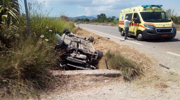 Καλύβια Αγρινίου: Τροχαίο ατύχημα με εκτροπή Ι.Χ. επιβατικού οχήματος (Photos)
