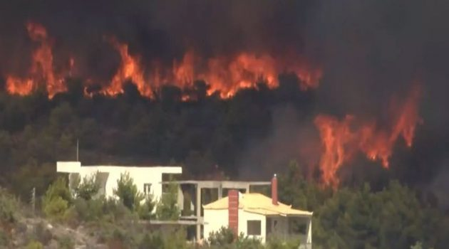Φωτιά στην Κερατέα – Οι φλόγες απειλούν σπίτια και τον Εθνικό Δρυμό Σουνίου