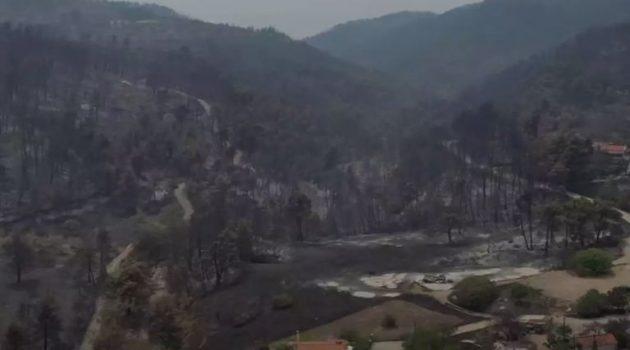 Φωτιά στην Εύβοια: Ολική καταστροφή – Εικόνες από ψηλά (Video)