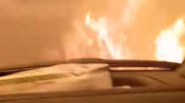 Αρκαδία: Πέρασαν με το αυτοκίνητο μέσα από τις φλόγες, «φύγε, προλαβαίνουμε» (Video)