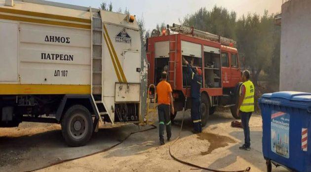 Ο Δήμαρχος Πατρέων Κ. Πελετίδης στο Λαμπίρι – Βοήθεια των εργαζομένων στους πυροσβέστες