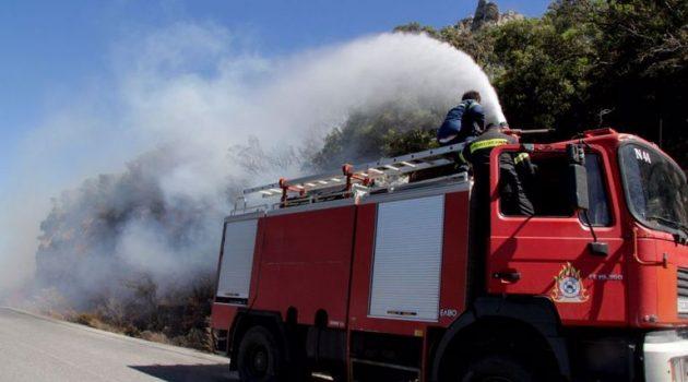 Εύβοια: Φωτιά στο Θύμι Καρύστου – Πνέουν ισχυροί άνεμοι