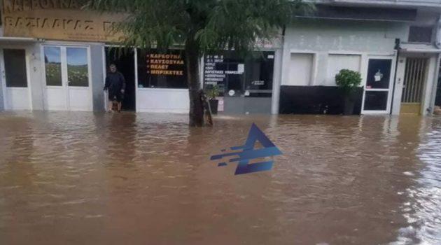 Αγρίνιο: Πλημμύρισε η Χαριλάου Τρικούπη μετά την έντονη κακοκαιρία (Photos)