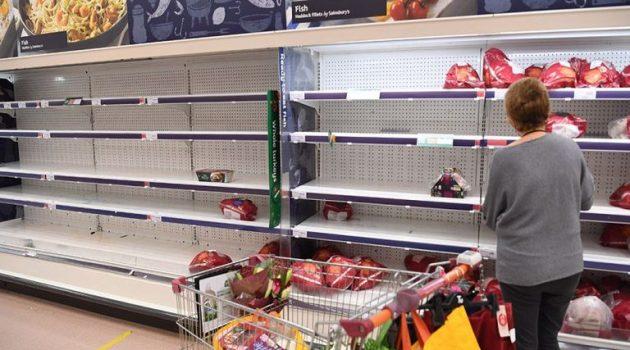 Βρετανία: Άδεια ράφια και ελλείψεις προϊόντων στα σούπερ μάρκετ