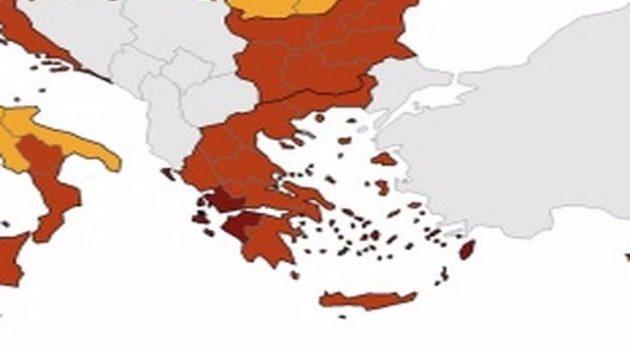 Χάρτης ECDC: Στο «βαθύ κόκκινο» η Αιτωλοακαρνανία
